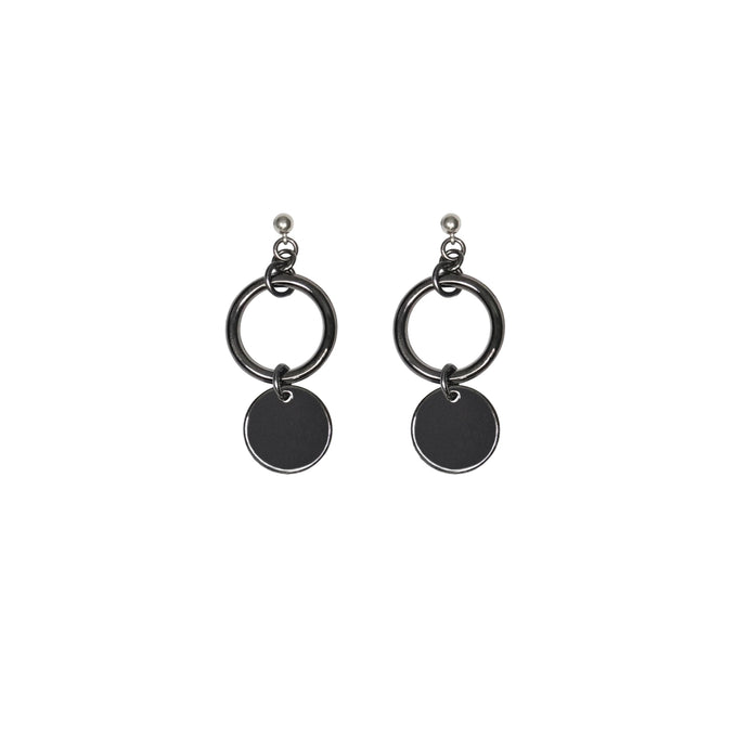Women's handmade statement earrings in gunmetal.