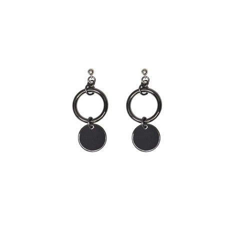 Tiny but fierce mini dangling circle charm earrings in our famous gunmetal silver
