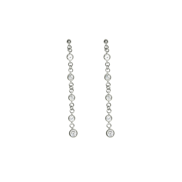 Silver diamond wedding earrings for women.