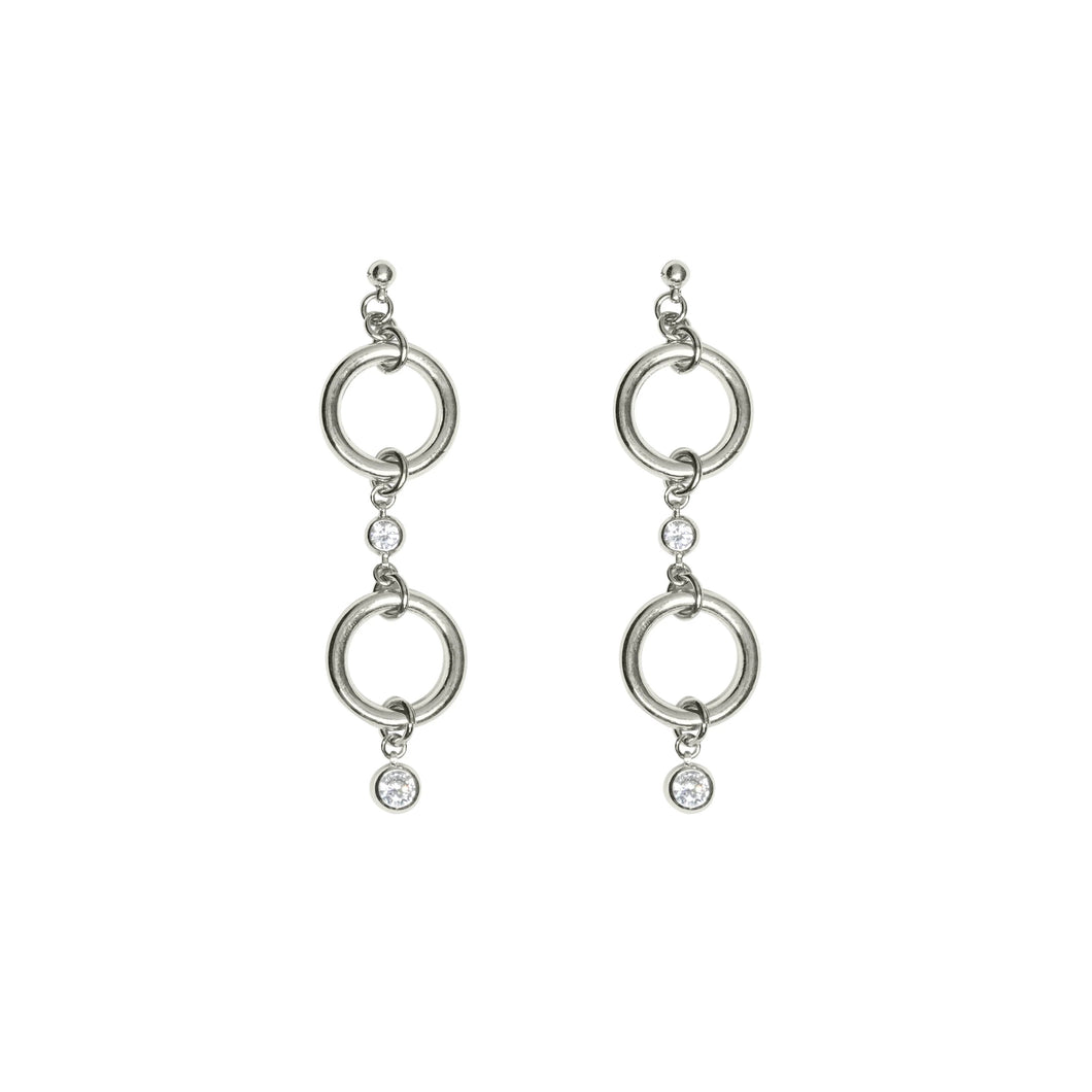 Silver and faux diamond dangle earrings from JoRocco's fine collection. Two circles feature faux diamonds to add sparkle to our signature look.
