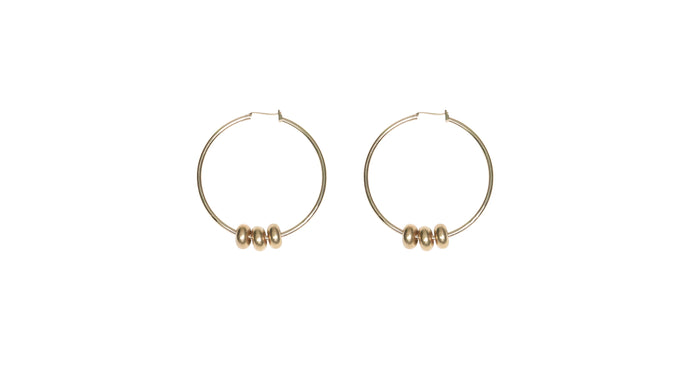 golden hoop earrings with removable beads