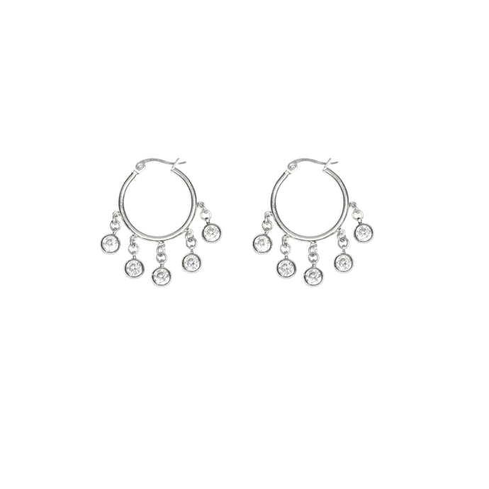Women's wedding diamond hoop earrings in silver.