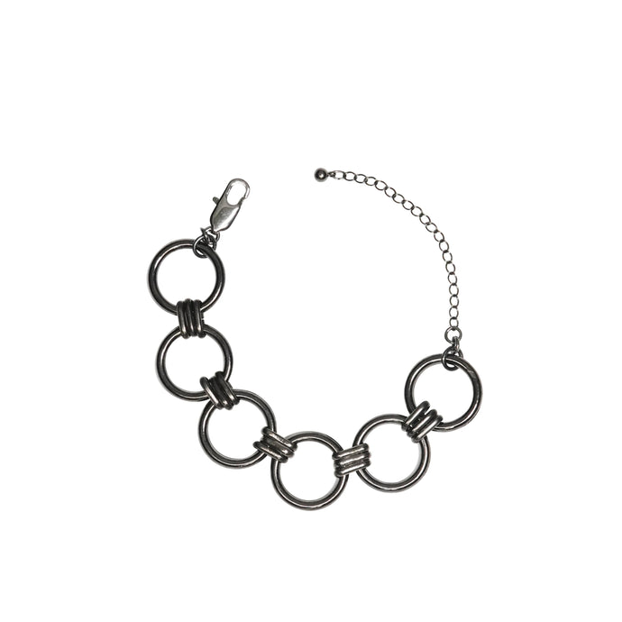 Women's handmade circle bracelet in gunmetal.