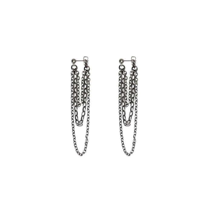 Women's silver chain earrings.