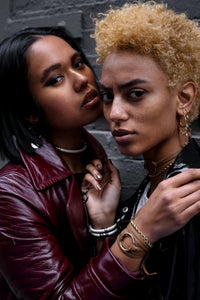 Brandy for the win- worn as a bracelet and choker by our models Samayah and Iyanla