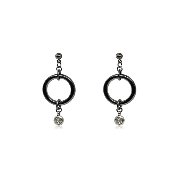 Women's diamond earrings in silver.