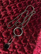 SAFETY PIN NECKLACE GUNMETAL