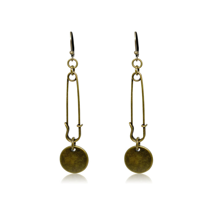 Safety pin chandelier earrings in gold.