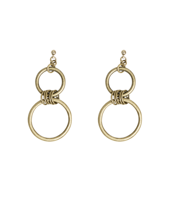 Women's gold chandelier earrings.