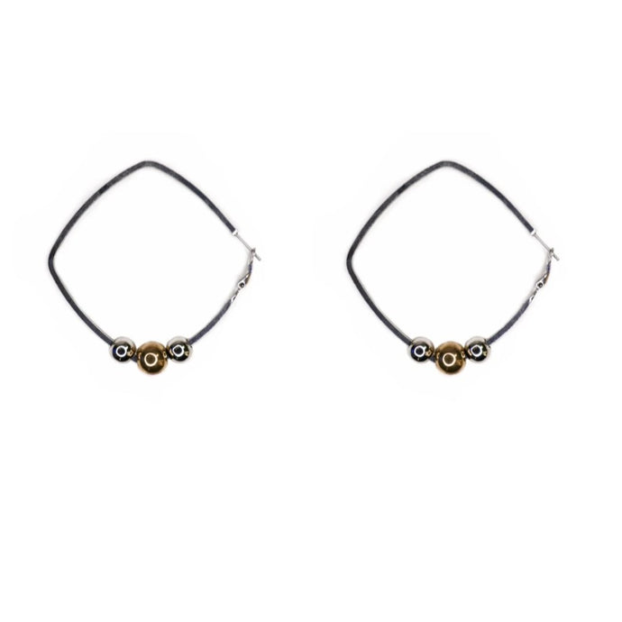 Women's silver hoops earrings.