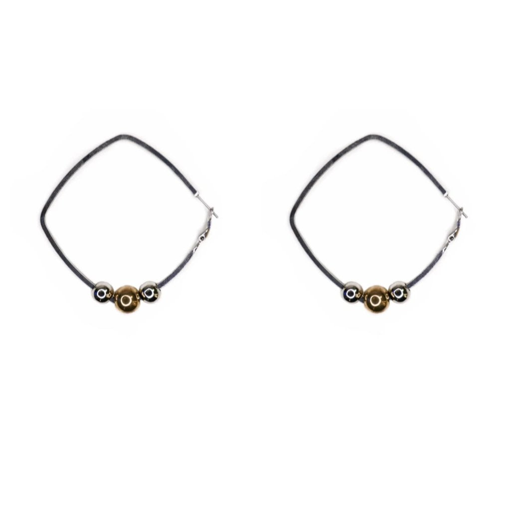 Silver square hoop earrings with removable silver and gold beads.