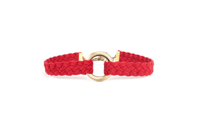 Unique red velvet braided choker with gold hoop pendent in the center is adjustable and ready to style