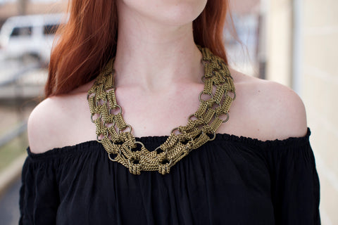 gold statement necklace for women