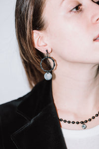 JULIUS BAMBOO EARRINGS GUNMETAL