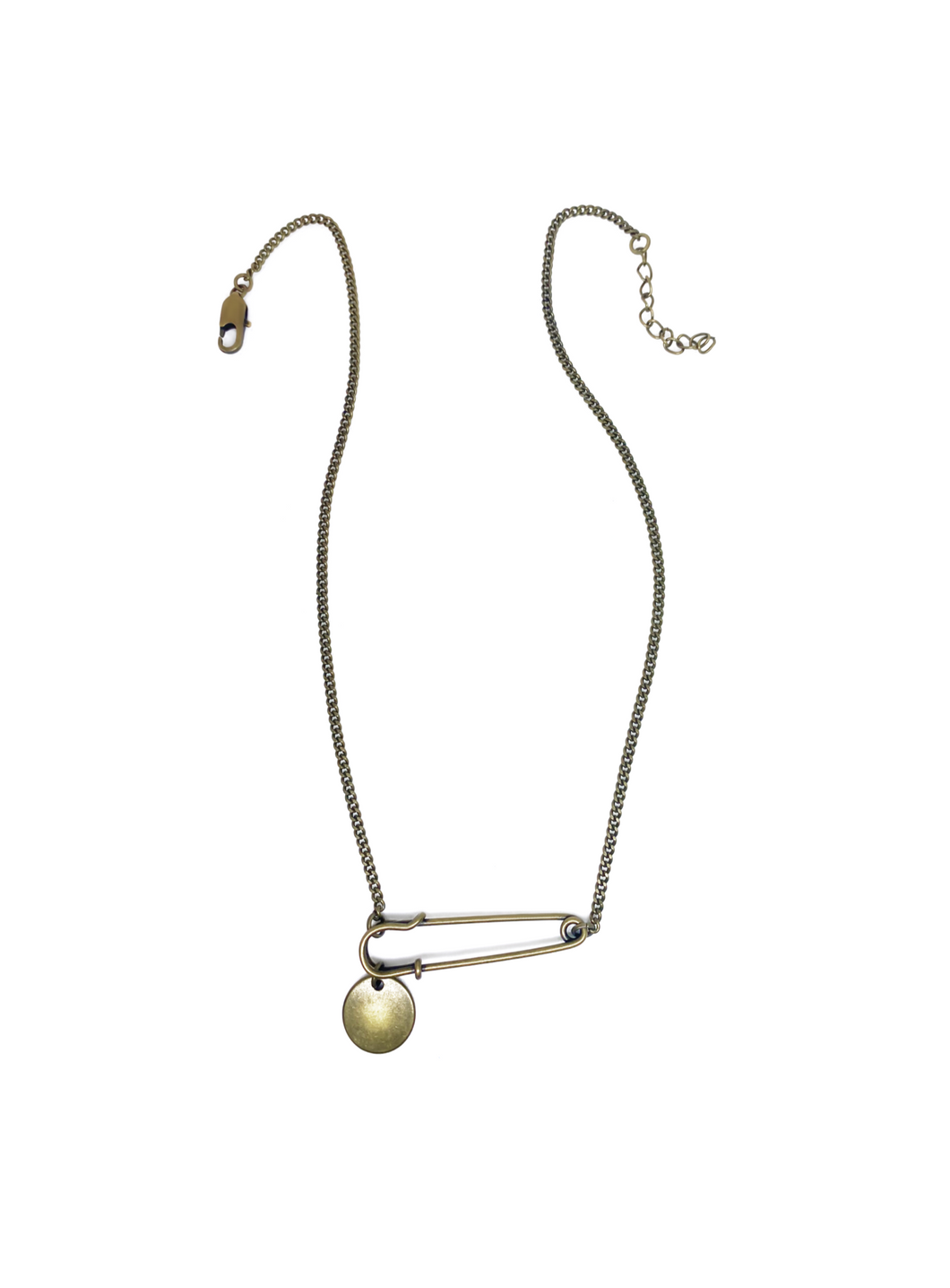 Gold safety pin charm necklace for women.