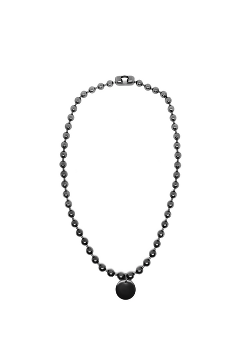 Silver ball chain necklace with charm.