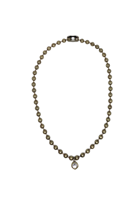 Gold ball chain necklace with crystal charm.