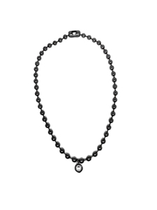 Silver ball chain necklace with crystal charm.