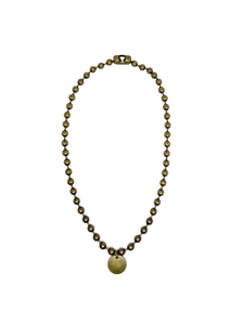 Gold ball chain necklace with charm.