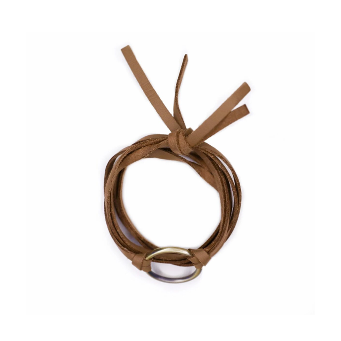 Unisex brown leather bracelet and choker.
