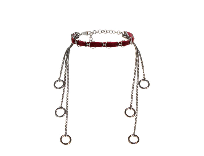 Handmade red velvet choker necklace in silver.