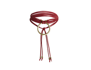 Asher wrap choker in or rich red with gold accents