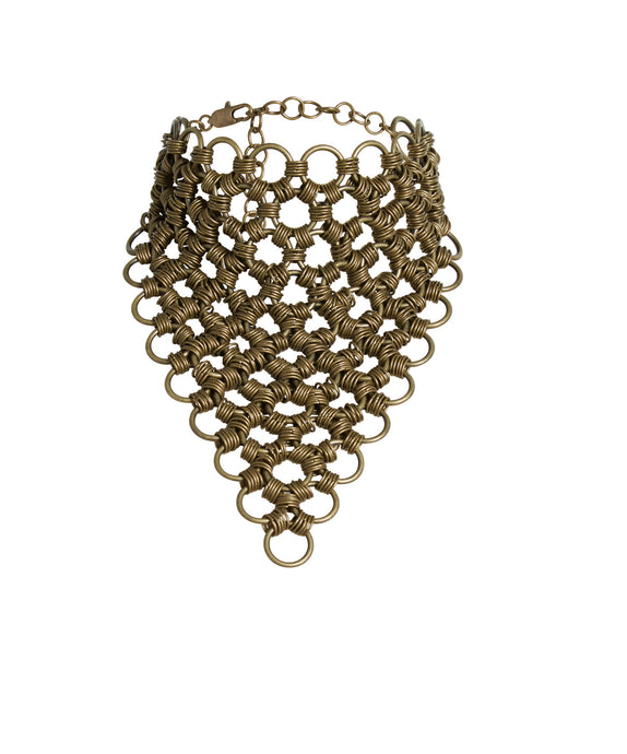 JoRocco's adjustable Amy necklace is one of the boldest pieces in our collection. Made to stand out and start a conversation, our body armor is comfortable and adjusts to your size