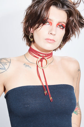 Model Arcadia wraps our Archie choker twice for an everyday bold look