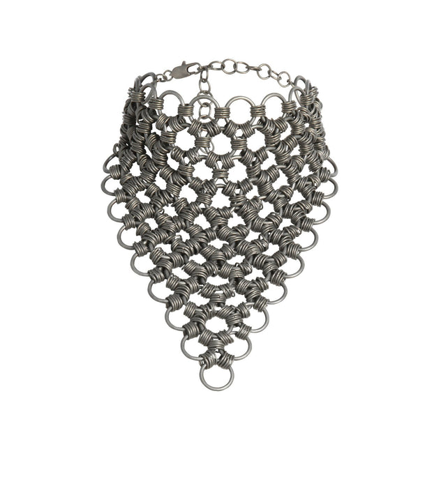 Women's statement chain necklace in silver.