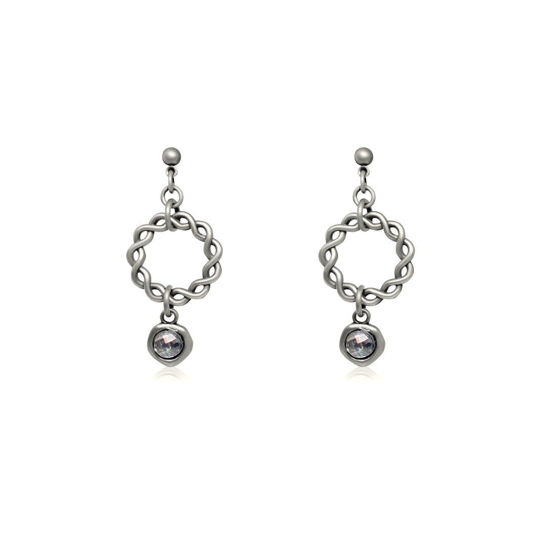 JAESON CRYSTAL EARRINGS SILVER