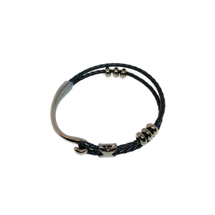 Handmade black leather bracelet with gunmetal beads.