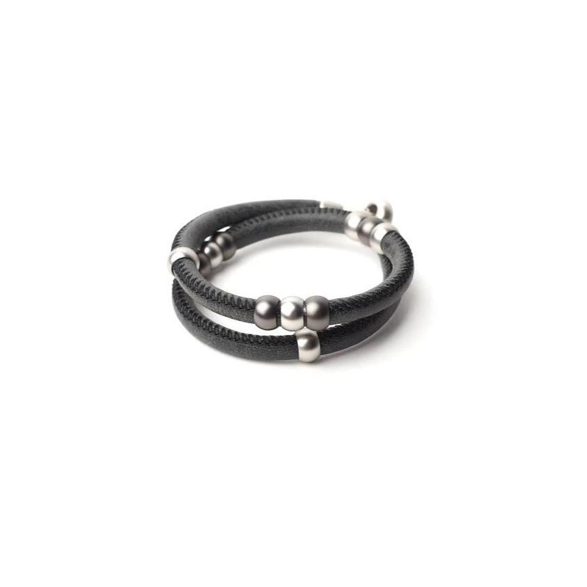 Unisex leather wrap bracelet and choker for men and women.