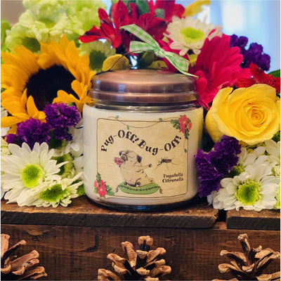 Pug-Off! Bug-Off! Pugatella Citronella - Mystic Pines Candle Co.
