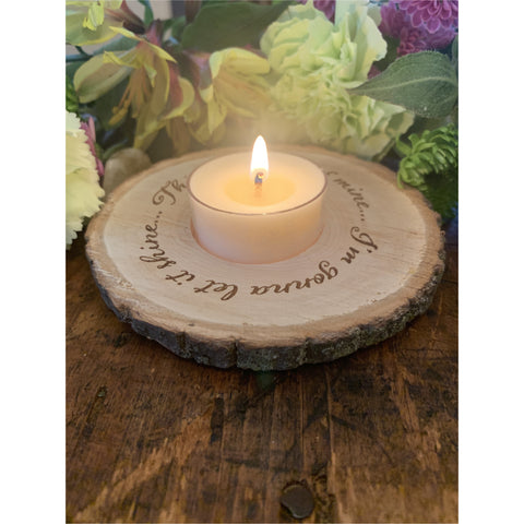 'This Little Light of Mine' Wooden Tea Light Holder - Mystic Pines Candle Co.