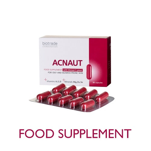acnaut acne out food supplement with brewer's yeast vitamins A, E, D 30 capsule pack