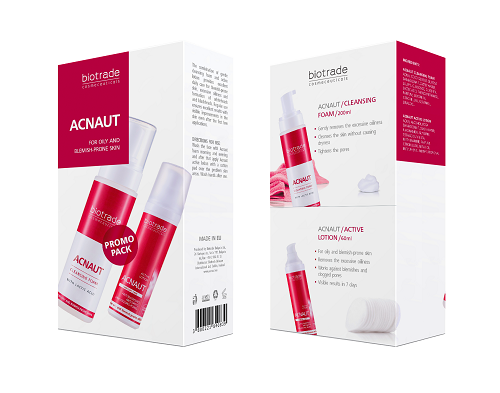 acnaut 2 piece kit featuring full size cleansing face foam and active lotion