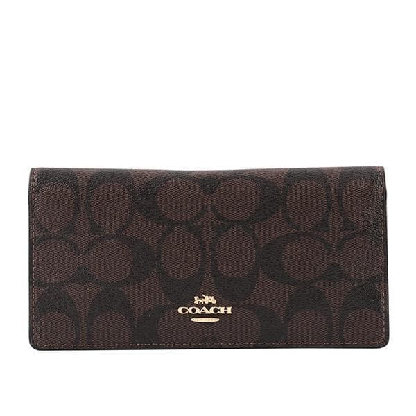 Coach Signature Canvas Bifold Wallet F88026 IMPK4 In Brown Metallic Berry
