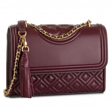 Tory Burch Fleming Small Convertible Shoulder Bag 43834 In Claret