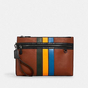 Coach Carryall Pouch 1576 With Varsity Stripes In Redwood Multi