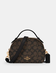 Coach Signature 1591 Serena Satchel Bag In Brown Black