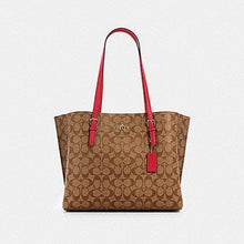 Load image into Gallery viewer, Coach Signature Mollie 1665 Tote Bag In Khaki Eletric Pink