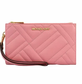 Michael Kors Peyton Double Zip Quilted Wristlet 35S0GP6W7L In Carnation