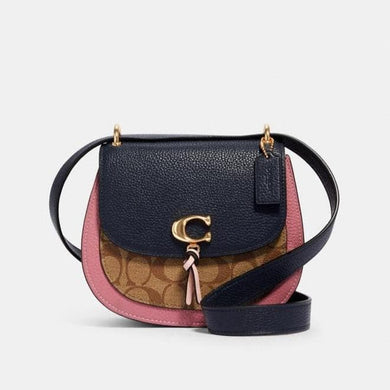 Coach Signature Remi 2316 Saddle Bag In Khaki Midnight Multi