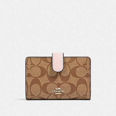 Coach Signature Medium Corner Zip Wallet 23553 In Khaki Blossom