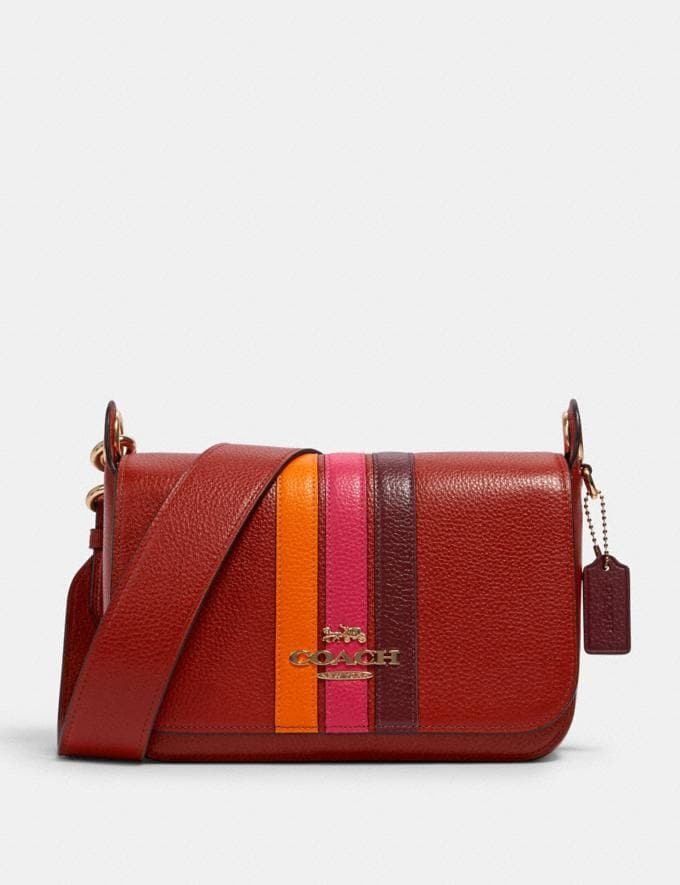 Coach Small Jes 2511 Messenger With Varsity Stripe In Eletric Pink Multi