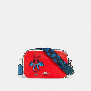 Coach X Marvel Jes 2544 Spiderman Crossbody Bag In Miami Red Multi