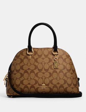 Coach Signature Katy 2558 Satchel Bag In Khaki Black