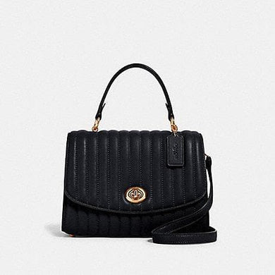 Coach Tilly Top Handle 2562 With Linear Quilting Satchel Bag In Black