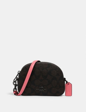 Coach Mini Serena Crossbody In Signature Canvas 2628 (QB/Brown Pink Lemonade)