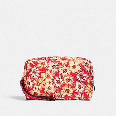 Coach Vintage Daisy Print 2639 Boxy Cosmetic Case In Pink Multi